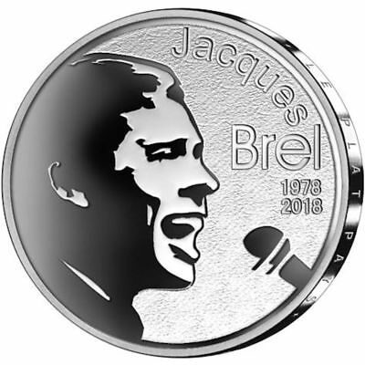 2018 Belgium € 10 Euro Silver Proof Coin 1978 Death of Jaques Brel 40 Years