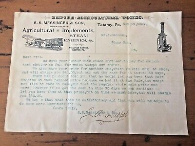 S.S. MESSINGER AGRICULTURAL IMPLEMENTS STEAM ENGINES 1891 letterhead TATAMY PA.
