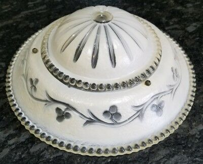 Vintage antique 12 1/4 In  Glass Painted Frosted ceiling light lamp Shade chains