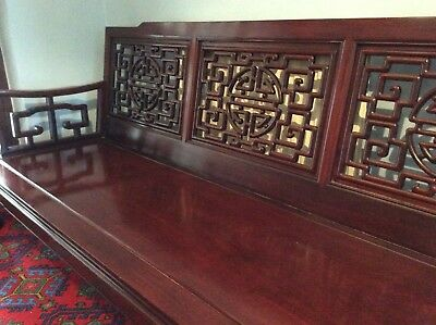 Chinese rosewood bench, hand carved classical design