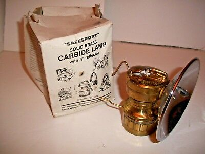 """Safesport Solid Brass Carbide Lamp with 4 """" reflector"""