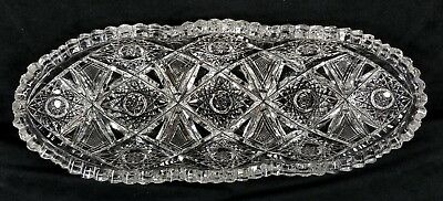 Antique ABP Cut Glass Celery Tray w 11 Sm 8 Point Stars Unmarked w Damage