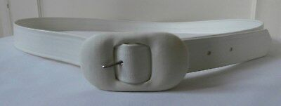 "BN Vintage 1950's White Vinyl Oval Covered Buckle Belt Sz 38""-41 1/2"" Deadstock"