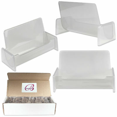 12PCS Clear Silver Acrylic Office Business Card Holder Display Stand Desktop