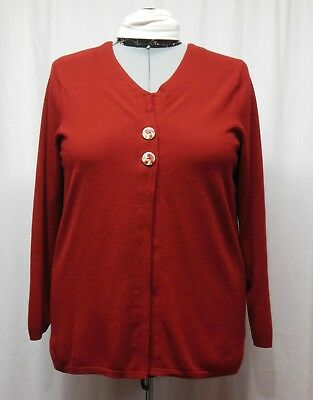 Womens Plus Size 1X Super Soft Maroon Long Sleeve Button Cardigan - Refashioned
