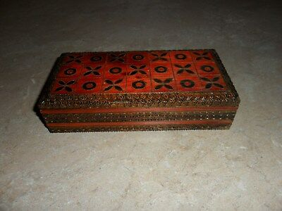 Vintage carved, stained two compartment wood box made in Poland