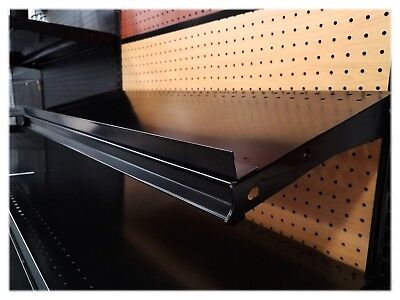Metal Gondola Shelf Lip 1 inch High, 3 feet long - Black - 10 pieces