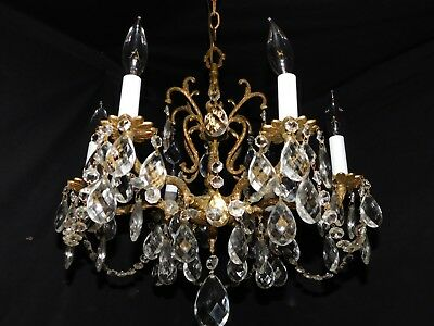 Antique pure brass petite chandelier 6 lights original crystals,