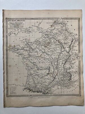 Vintage Original 1845 Topographic Map Of 'Ancient France'