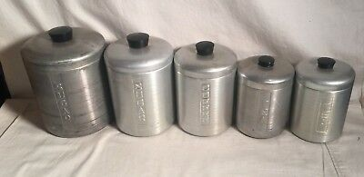 Vintage MCM Mid Century ALUMINUM 5pc Kitchen CANISTER Set Italy SUGAR TEA COFFEE