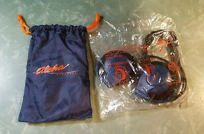 Aloha Airlines Headset w/ Drawstring Bag~Headphones~Earphones~First Class~Sealed
