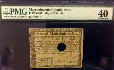 PMG MAY 5 1780 COLONIAL Note XF 40 MASSACHUSETTS $8 EIGHT Dollar FR # MA - 284