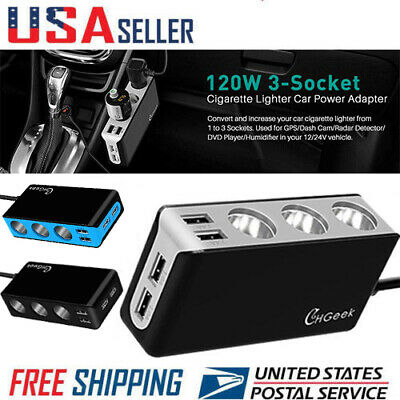 12V Car Cigarette Lighter Power Splitter 4 USB Charger Ports 3 Sockets Adapter