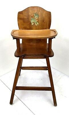 Vintage Wooden Baby High Chair Baby Feeding Highchair Circa 50's Removable Tray