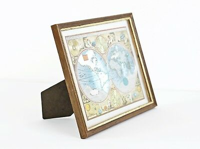 Vtg Foil Art Print A New And Accvrat Map of the World Framed Dissected Globe