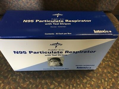 NON27501 ~ Medline N95 Particulate Respirator with Teal Stripes ~ Box of 35