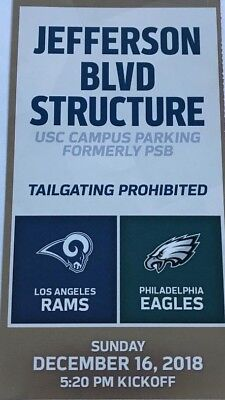 L.A. Rams Parking Pass vs. Eagles -— 12/16/18  — Free Local Delivery