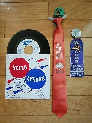 Lyndon Johnson 64 Campaign Song & Tie with 65 Inauguration Ribbon wDonkey Texas