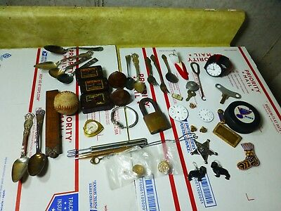 Vintage Junk Drawer Lot Cork Ball Wood Ruler Watches Silverplate +
