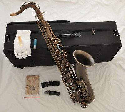 TOP Antique Bb Brass Tenor Saxophone high F# Abalone Engraving +Metal mouthpis