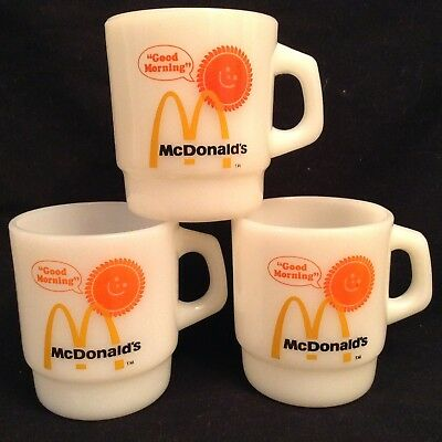 (3) Mcdonalds Good Morning Mugs Fire King Anchor Hocking