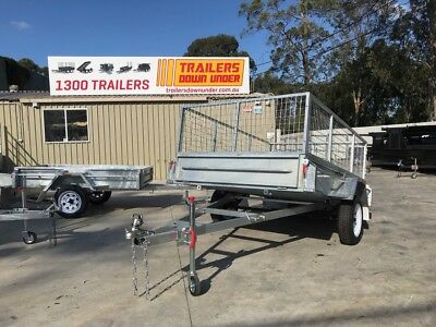 8x5 Box Trailer with 2ft Cage Single Axle H/Duty Galvanised Tilt