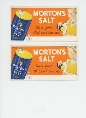 2 Vintage Blotters MORTON'S IODIZED SALT Nice Graphics SPOUT & GIRL