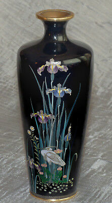 Fine Antique Japanese Cloisonne Enamel vase with Bird Plants Flowers