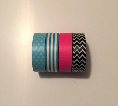 Washi Tape - Pack of 4 in blue, pink and black and white chevron