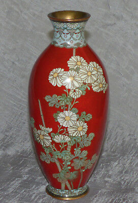 Fine Antique Japanese Cloisonne Vase with Translucent Red Enamel and  Flowers