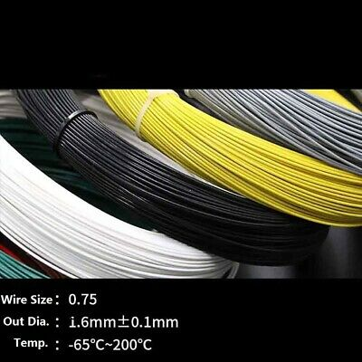 0.75mm² Teflon Silver Plated Copper Cable Stranded Wire Black/Yellow/Blue/White