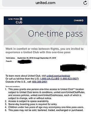 One United Club One Time Pass EXP 9/27/2019 E-mail Delivery