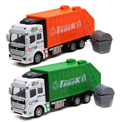 1:32 Pull Back Power Metal Alloy Model Car Garbage Truck Simulation Toy for Kids