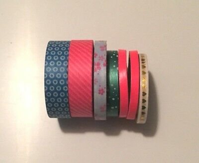 Washi Tape - Pack of 7 - multiple colours, widths and patterns