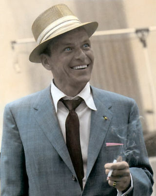 """FRANK SINATRA OLD BLUE EYES ACTOR SINGER 8x10"""" HAND COLOR TINTED PHOTOGRAPH"""