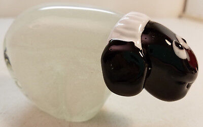 Blown Glass White Sheep Black Face Figure Art Deco Whimsical Fanciful Design