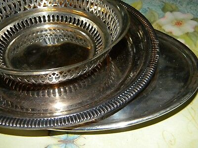 3/Pc silver plated trays Vintage Antique Estate sale Cute lot Bowels and trays