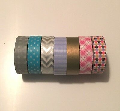 Washi Tape - Pack of 7 rolls in multiple colours and patterns