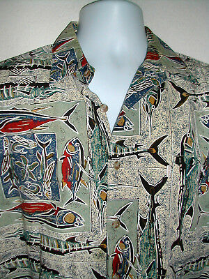 9c452057 Mens M KAHALA~Collection COTTON Aloha Shirt PACIFIC GAME FISH Hawaiian Made  EUC
