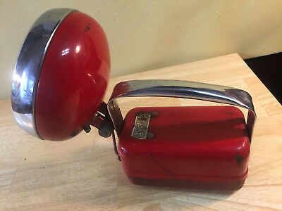 Vintage 50s Red Metal & Chrome NORTHEAST TOOL &DIE WORKS Lifetime Lantern 6 Volt