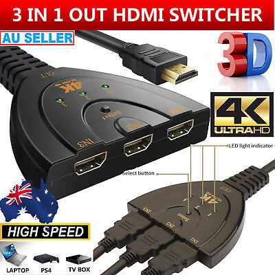 4K Ultra HD TV 3 Way HDMI Switch Splitter Auto 3 Port IN 1 OUT Cable with Remote