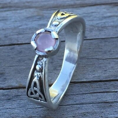 Celtic Triskele Ring .925 Sterling Silver Sz 7 w/ genuine Rose Quartz gemstone