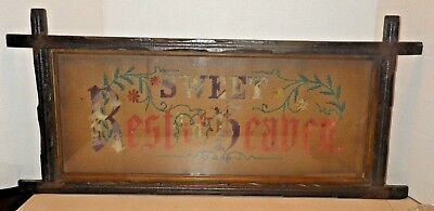 Antique Victorian 1800's Perforated Paper Embroidery Framed SWEET REST IN HEAVEN