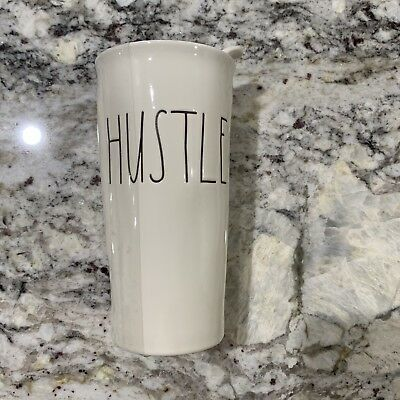 "Rae Dunn Magenta Ivory Travel Tumbler Mug ""HUSTLE"" Coffee Lid Tea Drink"