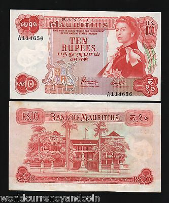 Mauritius 10 Rupees P31 1967 Queen Bird Flag Gb Uk Unc Currency Bill Money Note