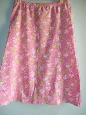 Lilly Pulitzer Maternity Skirt Sz Med Happy Hippo Cotton Knit Elastic Waist Pink