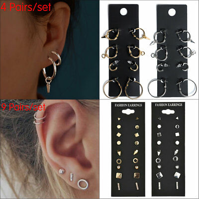 4/9 Pairs Stud Earring Set for Women  Round Small Geometric Piercing Earring