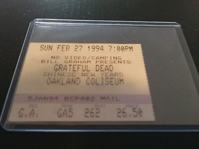 Grateful Dead Ticket Stub, Oakland, Chinese New Year, 02/27/1994