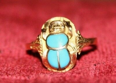 Antique Egyptian Revival Turquoise Scarab 18K Yellow Gold Women's Ring Size 9.75