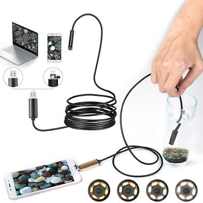 5M 6LED 5.5MM Dia Mini USB Endoscope Camera Support Windows PC and Android Phone